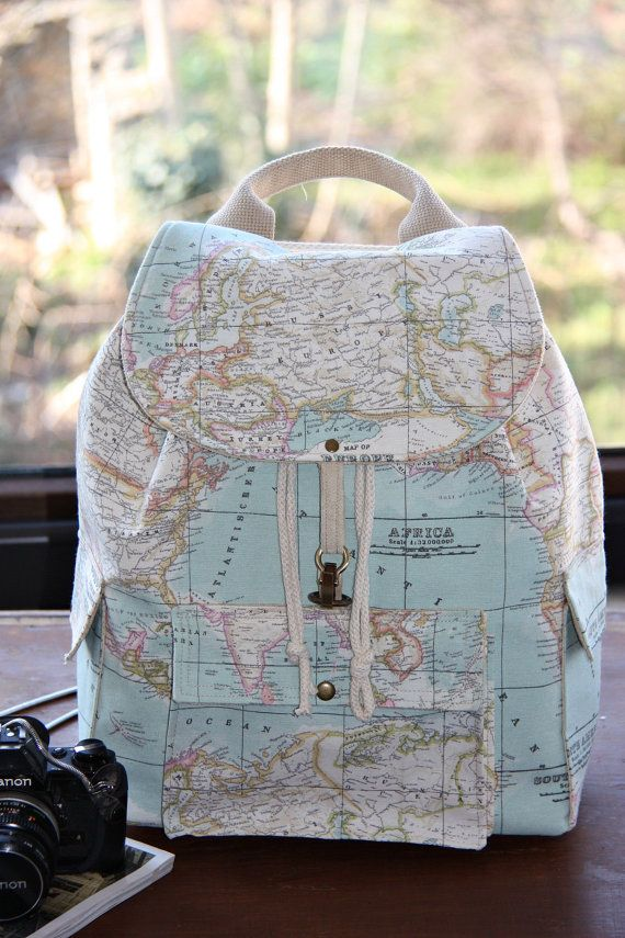 World Map Prints Backpack Atlas Large Backpack Travel School Daily