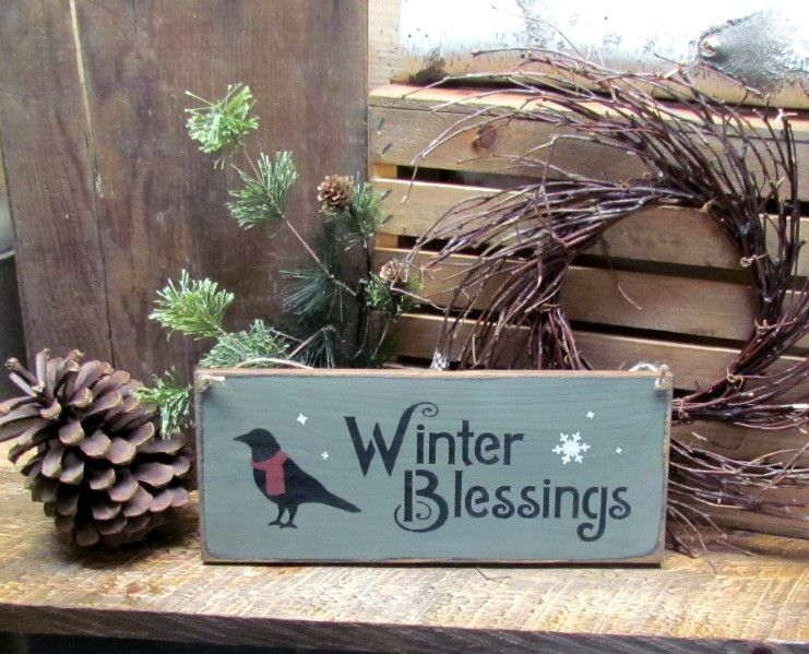 Winter Blessings Wooden Sign is part of Winter decor Signs - This wooden winter sign is made from pine, and measures 5 5 W x 13 L  It reads  Winter Blessings   The front is painted smokey Grey, sanded then distressed  The back is stained and we use a piece of jute for hanging  Makes a great gift  All of our signs are painted, stenciled, sanded and stained by hand  Due to our distressing methods no 2 signs are alike, we use only local pine wood with knots, dings and dents (imperfections)  They look old and each one is unique  We hope you will enjoy them  They make great gifts and add to your winter decor  ★ ★ ★ ★ ★ ★ ★ ★ ★