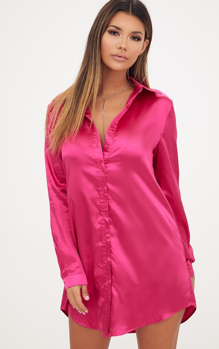 6b59a166ee562 Fuchsia Satin Button Front Shirt Dress