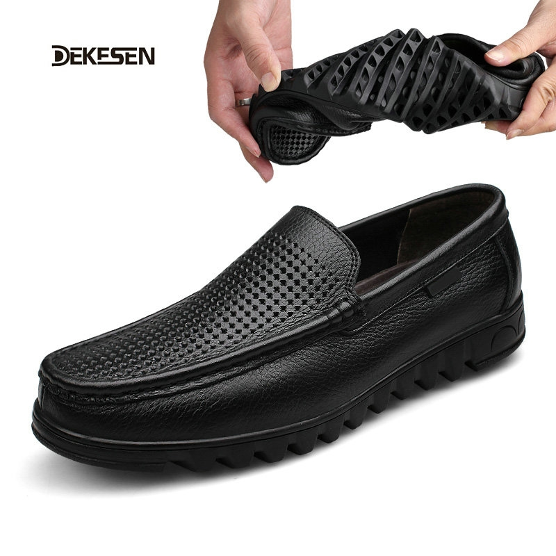 (71.16$)  Watch here - http://aiist.worlditems.win/all/product.php?id=32609229383 - Dekesen Summer Causal Shoes Men Loafers high quality Genuine Leather Moccasins Men Driving Shoes Flats For Man Father gift 8535