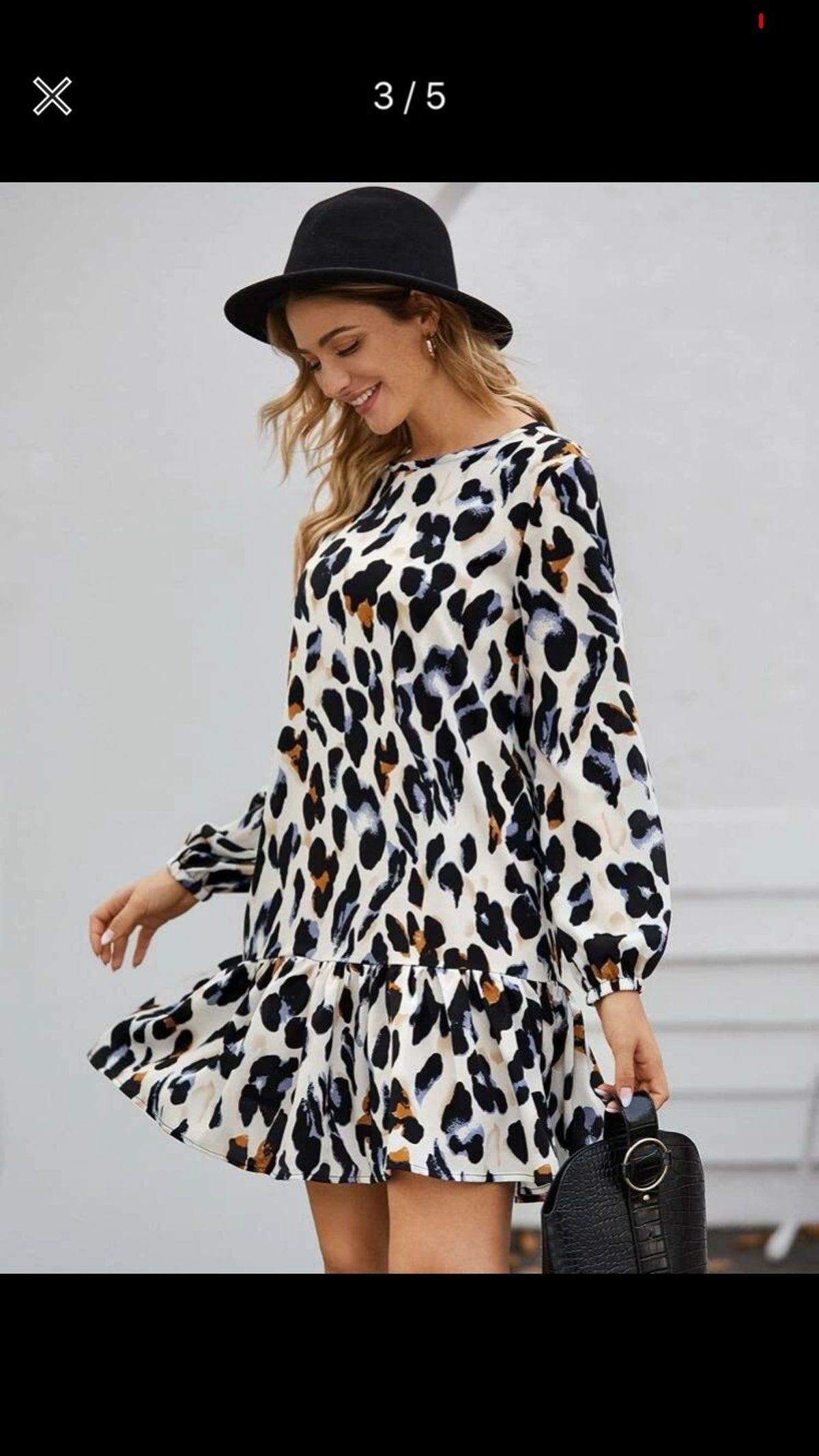 Modern Leopard Print Dress Leopard Print Dress Smock Dress Women Long Sleeve [ 2134 x 1200 Pixel ]