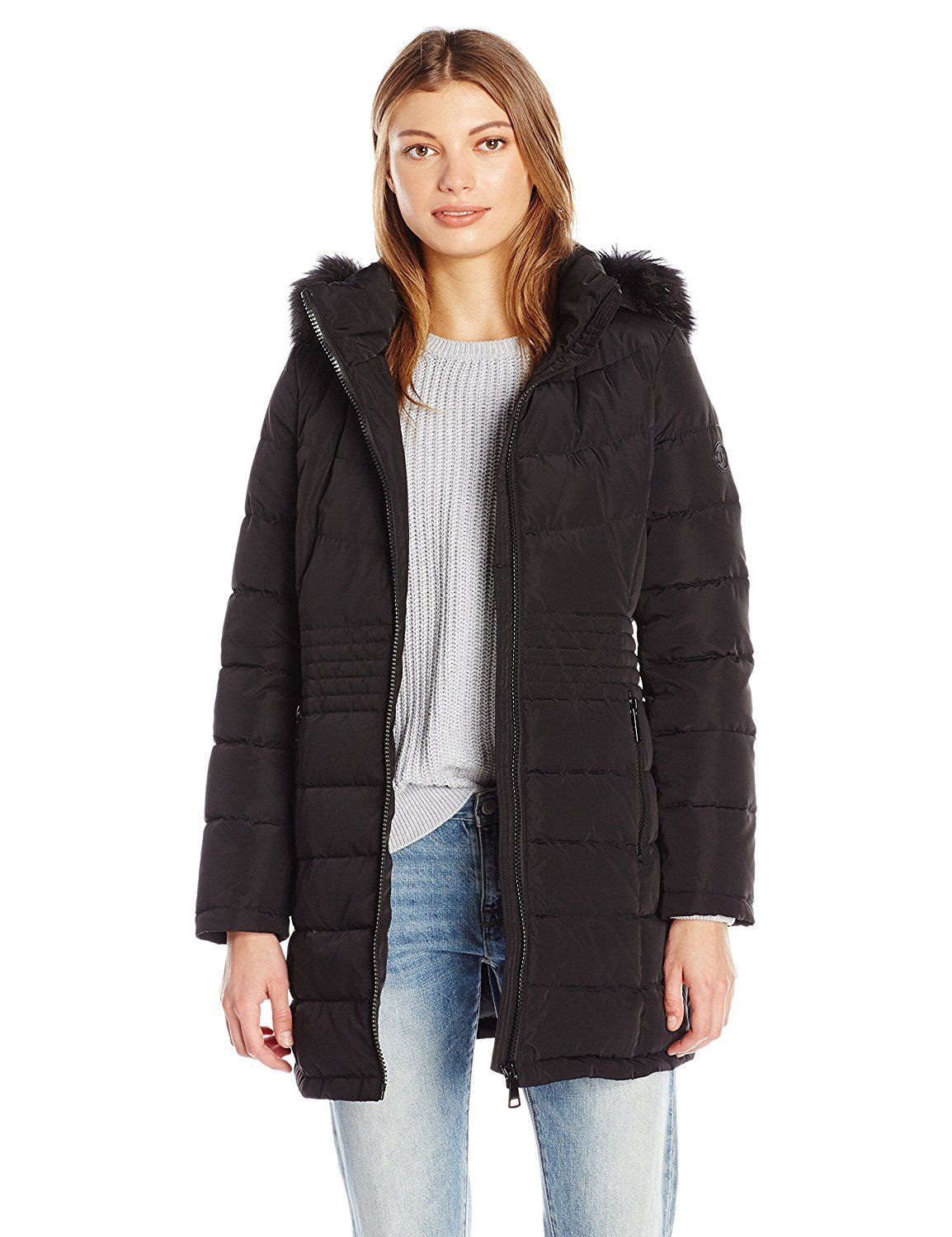 Calvin Klein Women's Down Puffer Long Coat with Faux Fur