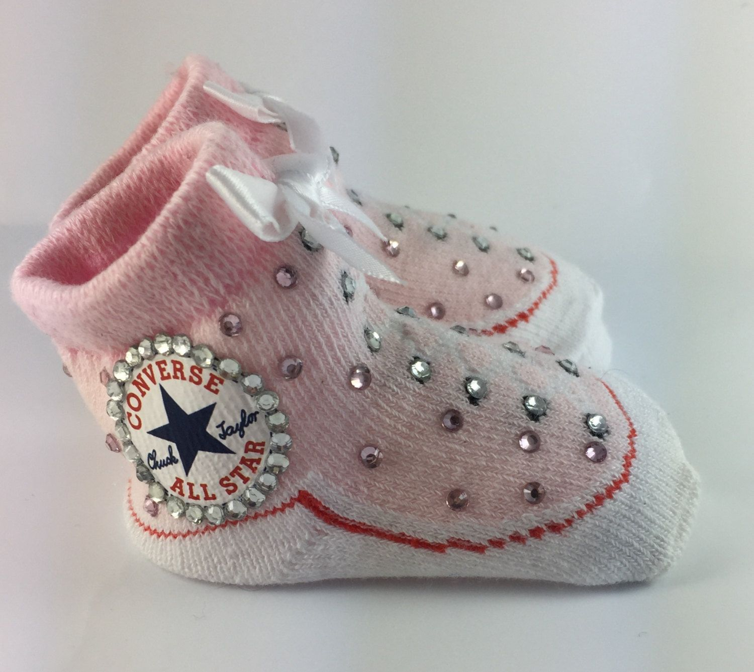 Baby White Converse Pram Shoes Customised Baby Girl Pink Converse Booties Bling Shoes