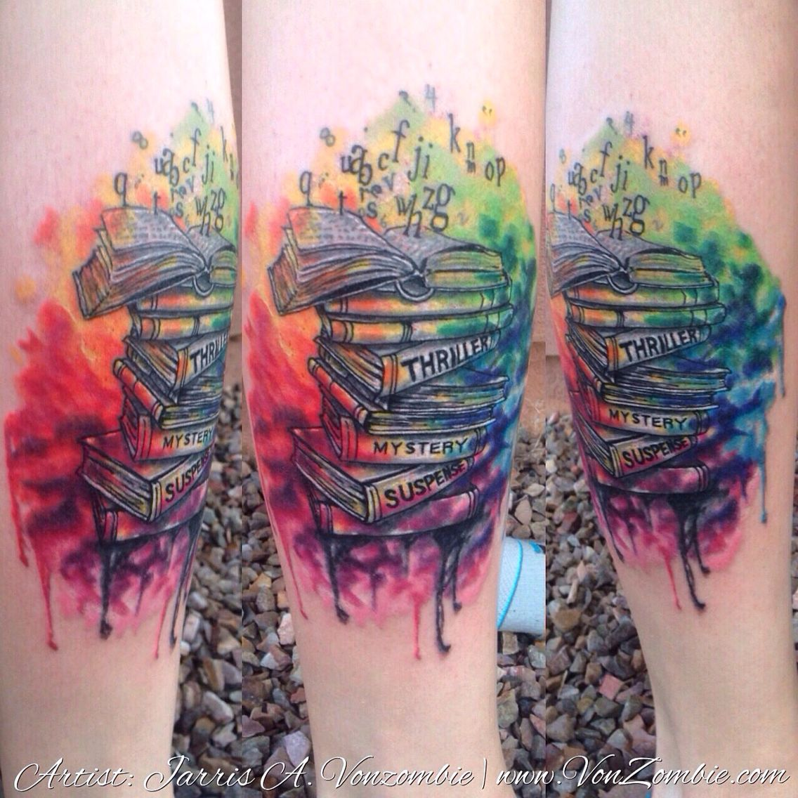 Book Cover Watercolor Tattoos : Books of watercolor tattoo created by jarris vonzombie