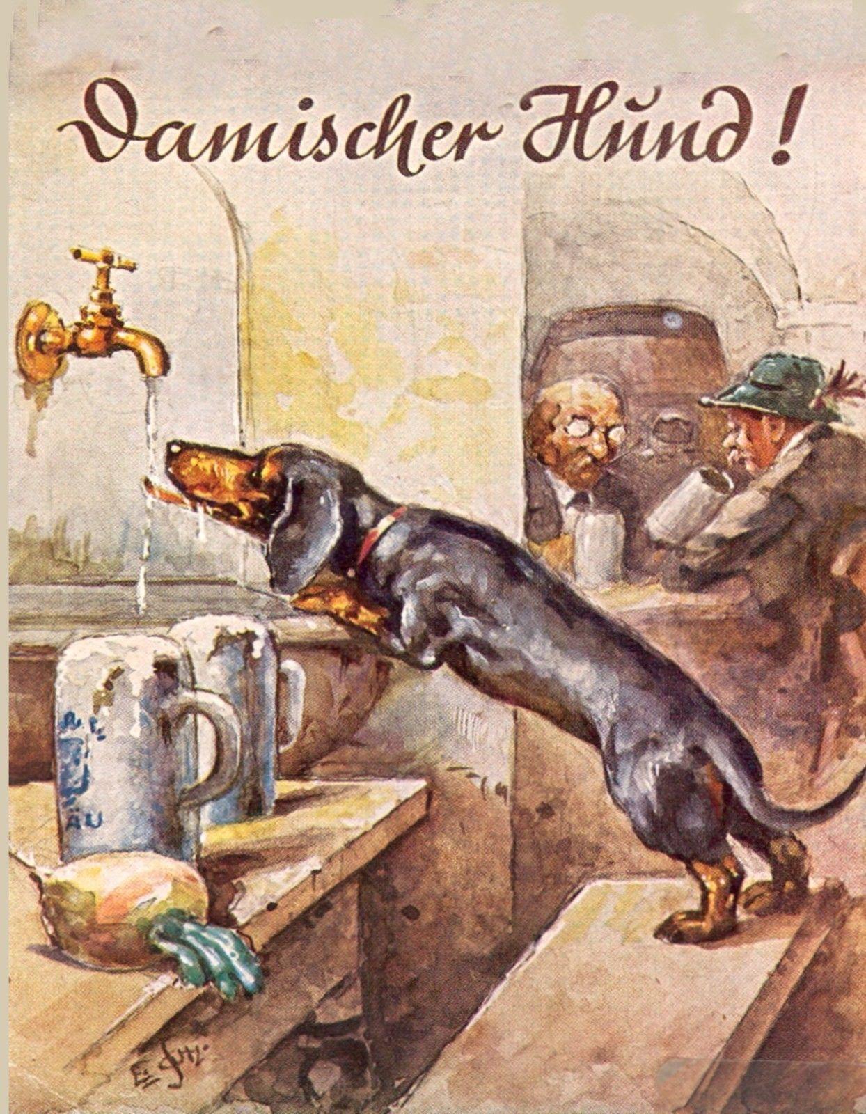 4 59 Metal Magnet 1935 Advertisement Dachshund Beer German