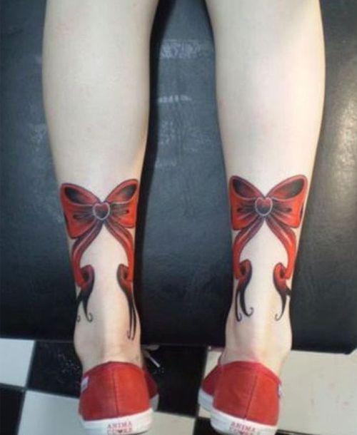 Cute Ribbon Bow Leg Tattoo Ideas For Women Inkspiration