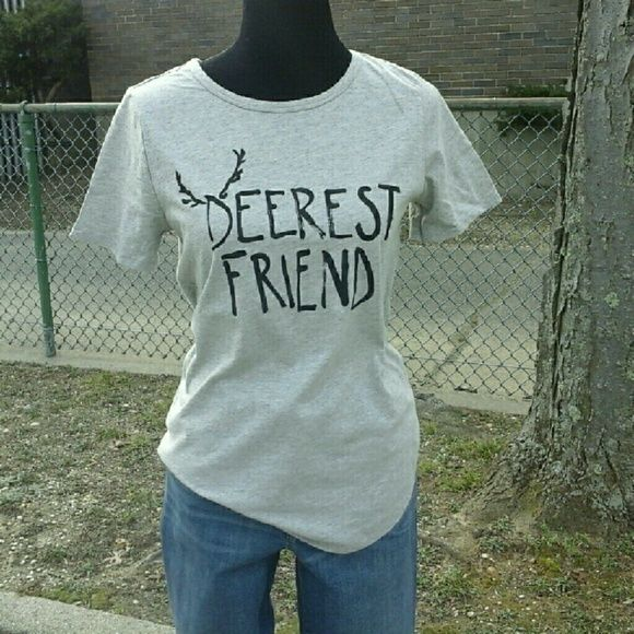"""Deerest Friend Tee Casual and fun tee in light grey with black graphic. Crew neck, short sleeve, shirttail hem. 82% cotton/18% poly.  Size: Large Measurements: Bust: 20""""  Length: 26""""  NO Trade / NO Paypal Tops Tees - Short Sleeve"""
