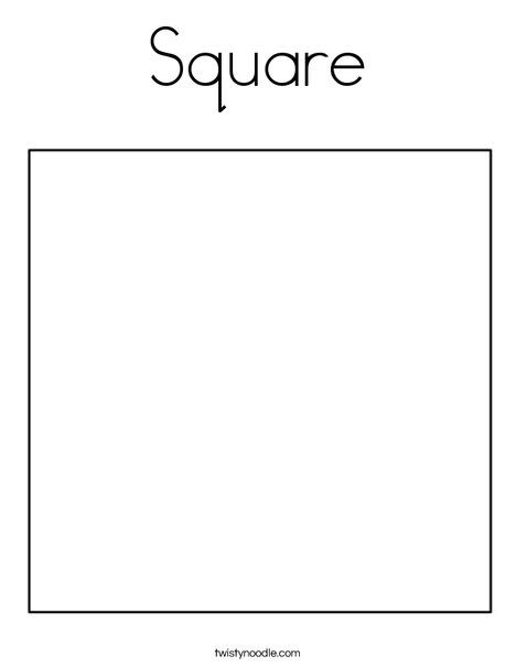 Square Coloring Page - Twisty Noodle | Coloring pages ...
