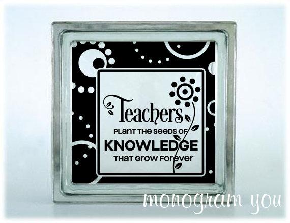 Glass Block Vinyl Decal Teachers Plant The Seeds Of Knowledge - Glass block vinyl decals