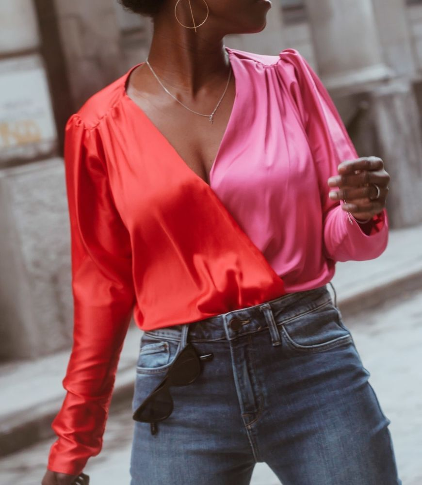 f789a54abf2d67 NWT ZARA TWO TONE CROSSOVER BODYSUIT BLOUSE TOP PINK RED Size M  Ref.5580/401 #ZARA #Blouse #Casual