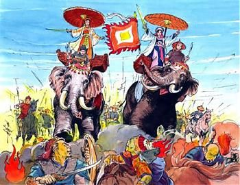 the trung sisters: raised an army to avenge their murdered family/country.