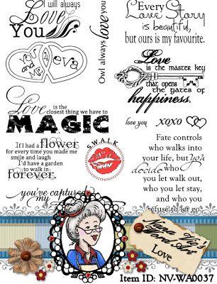 Love word art digital stamp set