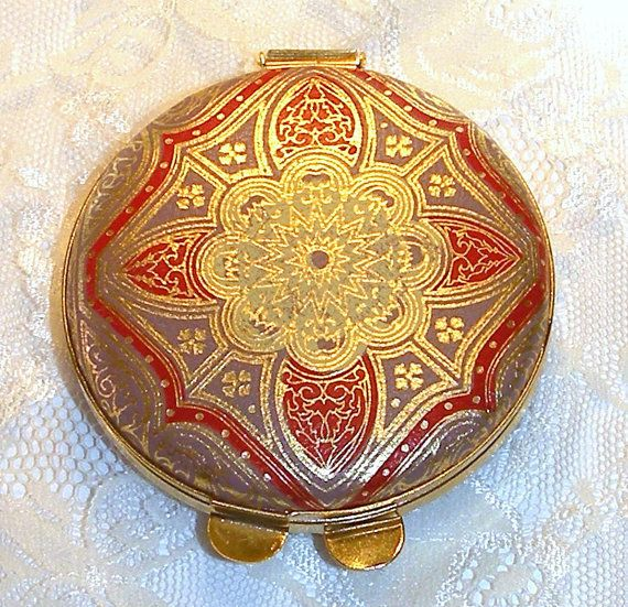 Vintage Leather powder case with mirror