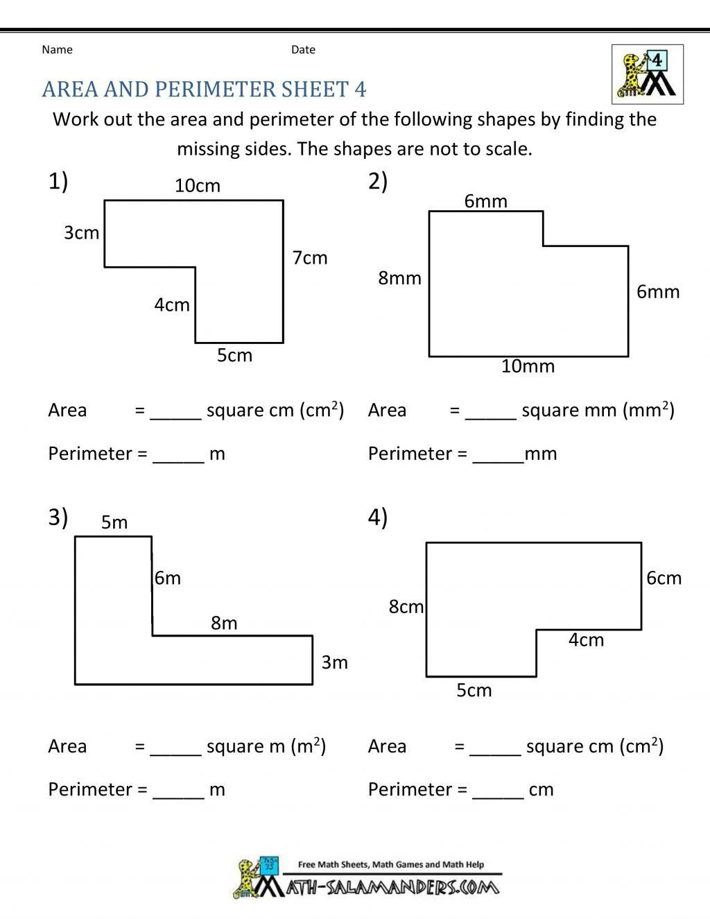 Third Grade Perimeter Worksheets Worksheet Ideas Area And