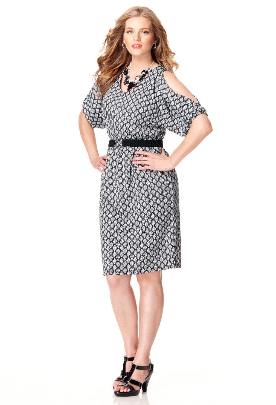 Plus Size Belted Cold Shoulder Dress | Plus Size Office & After ...
