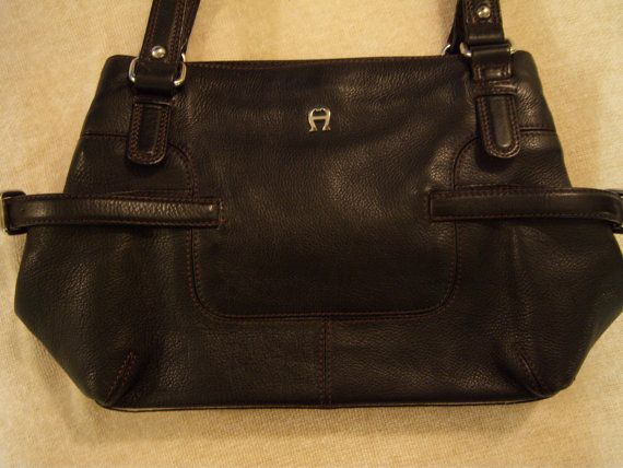 Vintage Etienne Aigner Purse Black Leather Multi Compartment