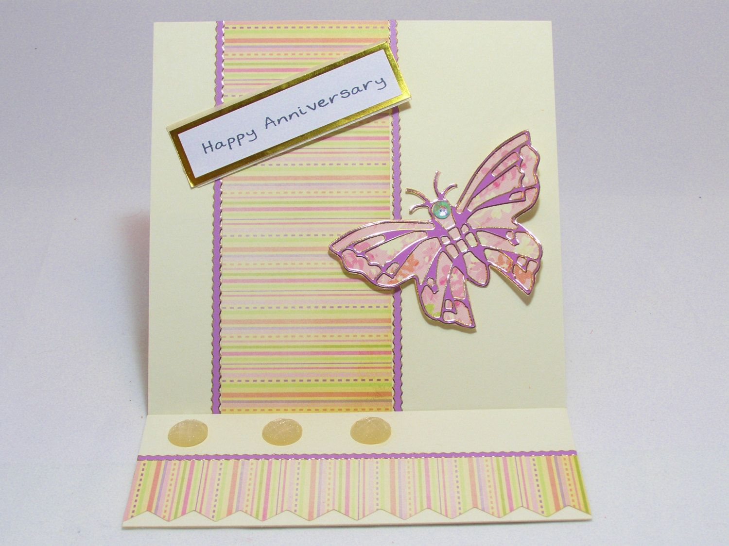 6 X 6 Pink And Crean Butterfly Card Butterfly Greeting Card