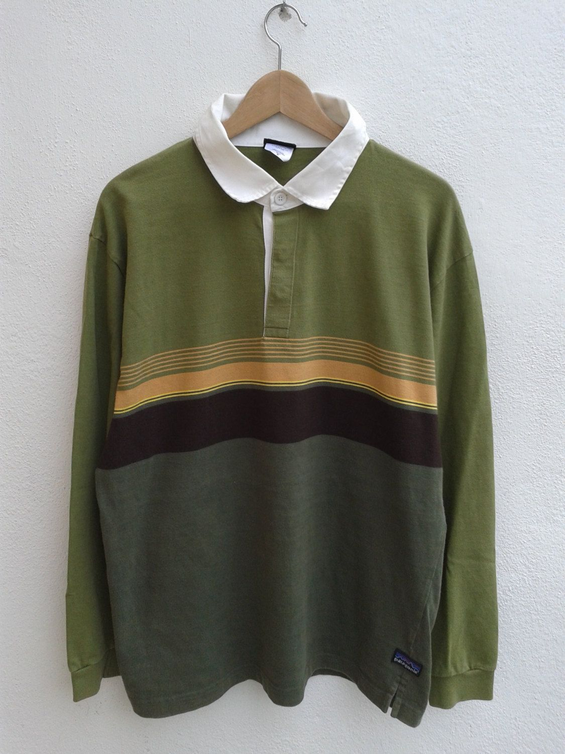 Summer Sale Vintage 90s Patagonia Organic Cotton Outdoor Gear Long Sleeve Color Block Stripes Polos Rugby Style Rugby Fashion Shirt Style Vintage Rugby Shirts