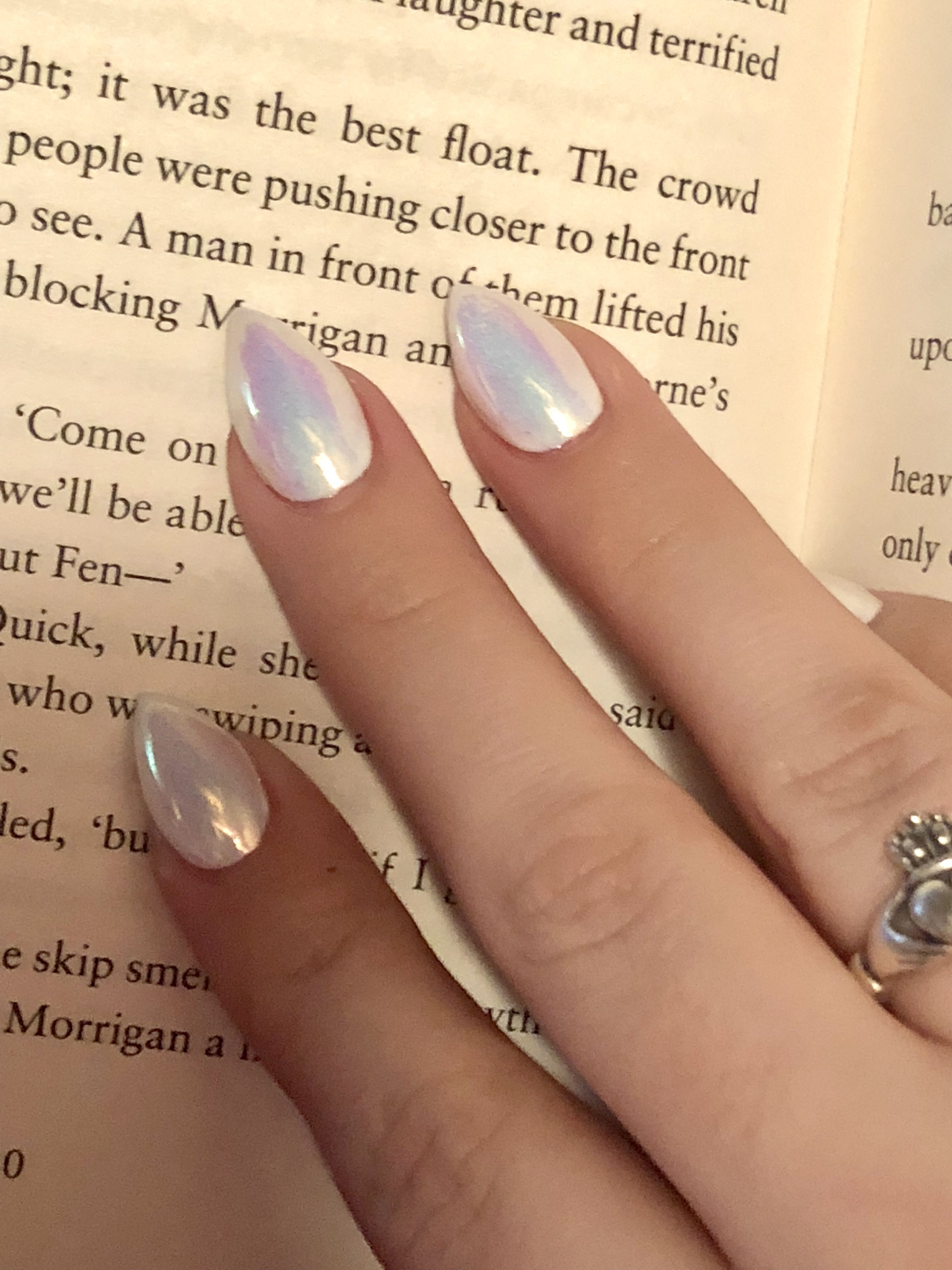 Holographic White Unicorn Short Stiletto Nails With Images