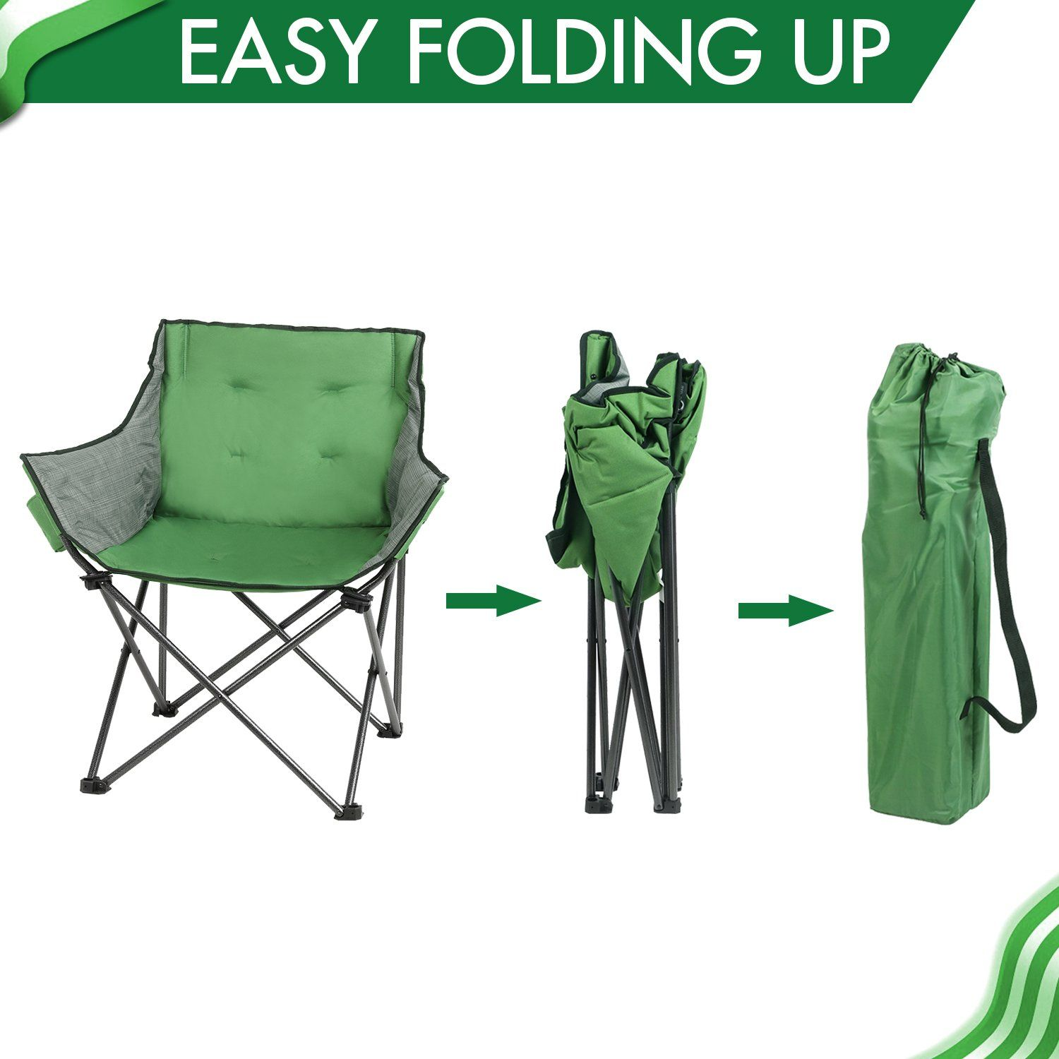 PORTAL Large Folding Camping Sofa Chair Padded Outdoor Club Chair with Cup Ho...