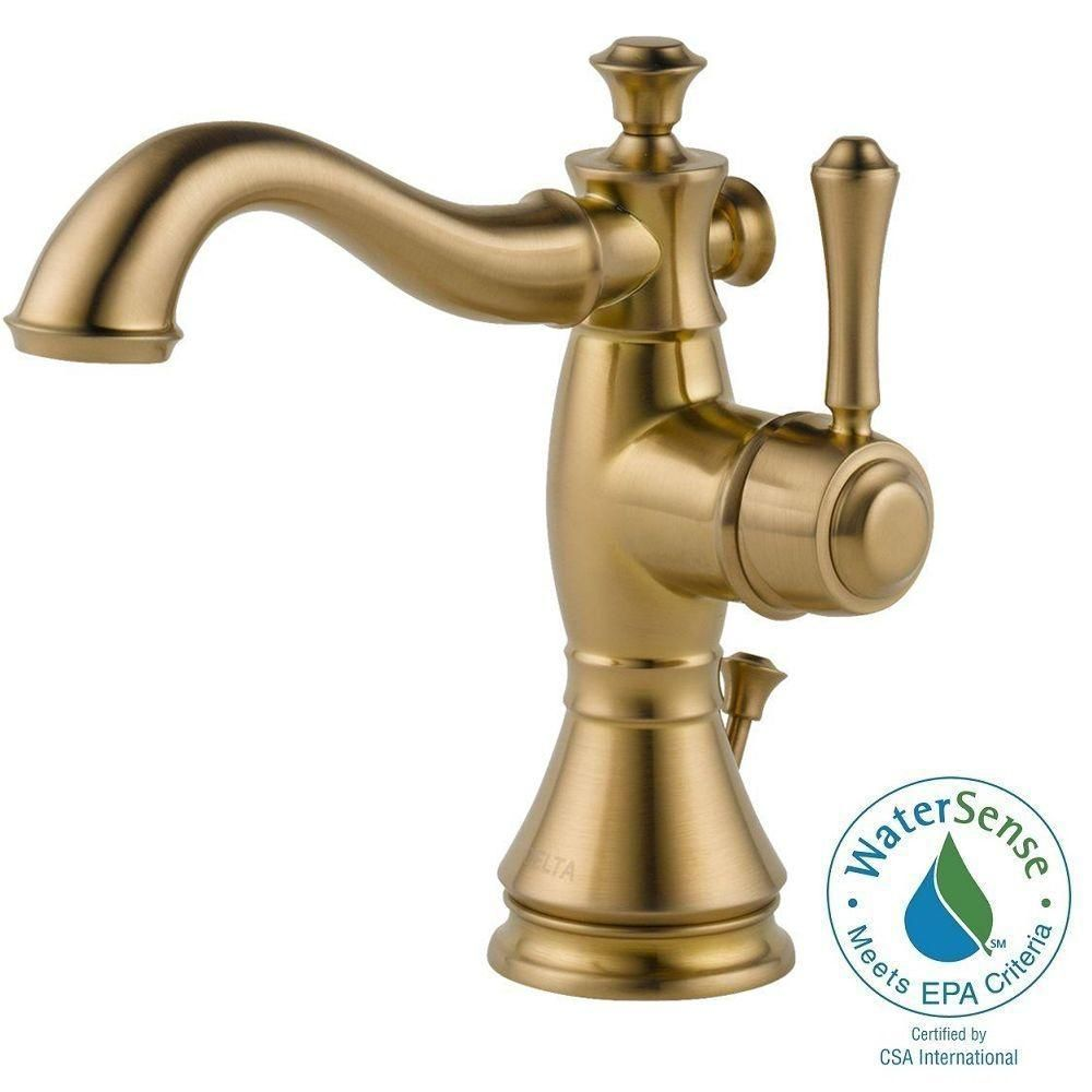 Delta Cassidy Single Hole Single-Handle Bathroom Faucet in Champagne ...