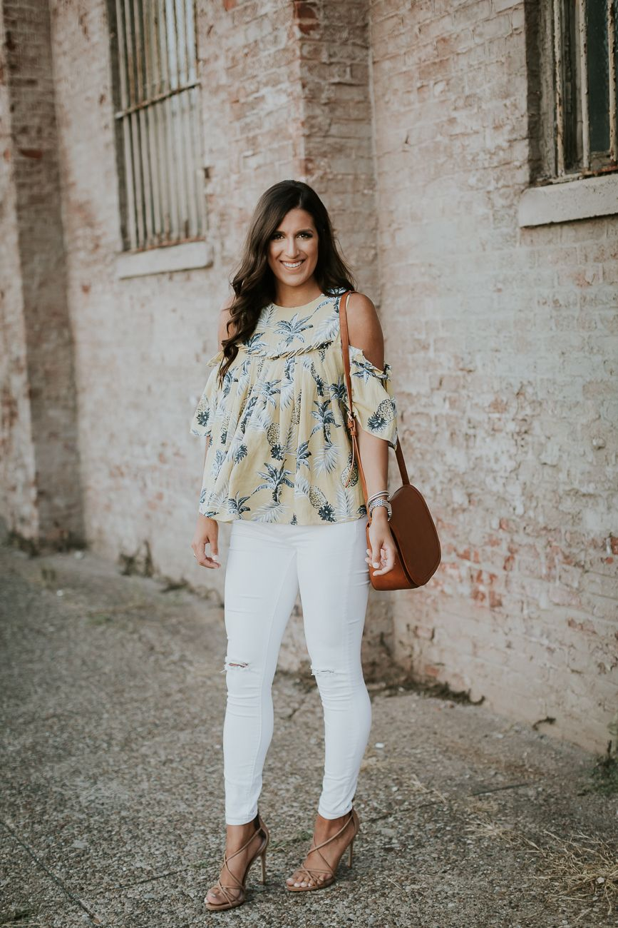 17c0795794c Light yellow pinapple print cold shoulder top+white ripped jeans+camel  ankle strap heeled sandals+cognac crossbody bag. Summer Dressy Casual  Outfit 2017