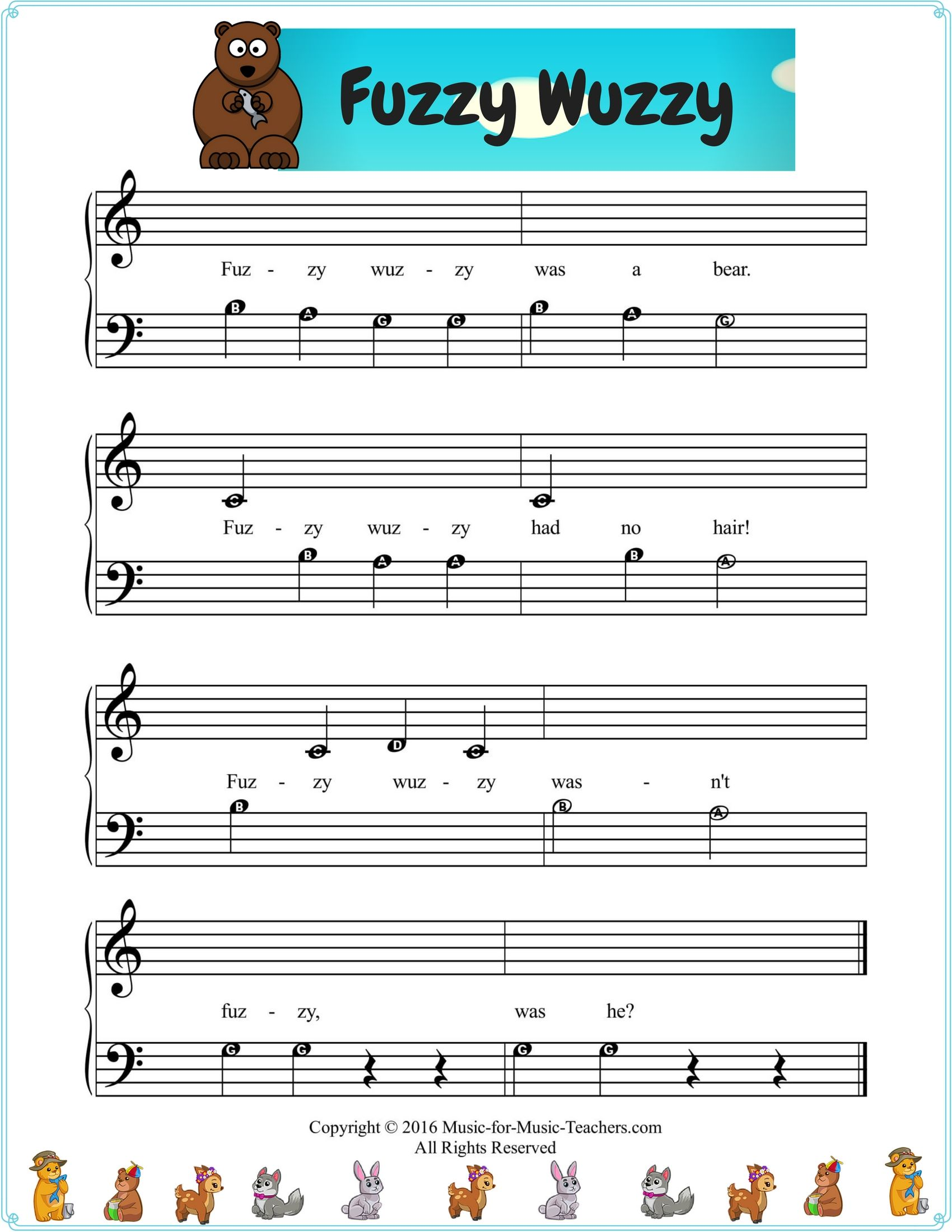 Easy Beginner Piano Song Fuzzy Wuzzy Shared By Both Hands