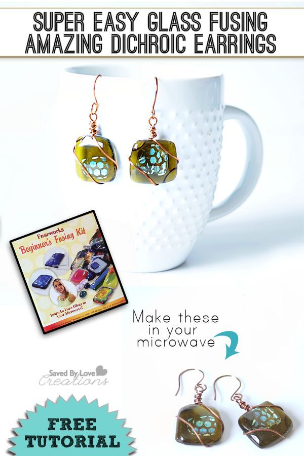 Dichroic Gl Earrings Tutorial Using Microwave Kiln In 4 Minutes Savedbyloves Fusinggl Dichroicgl