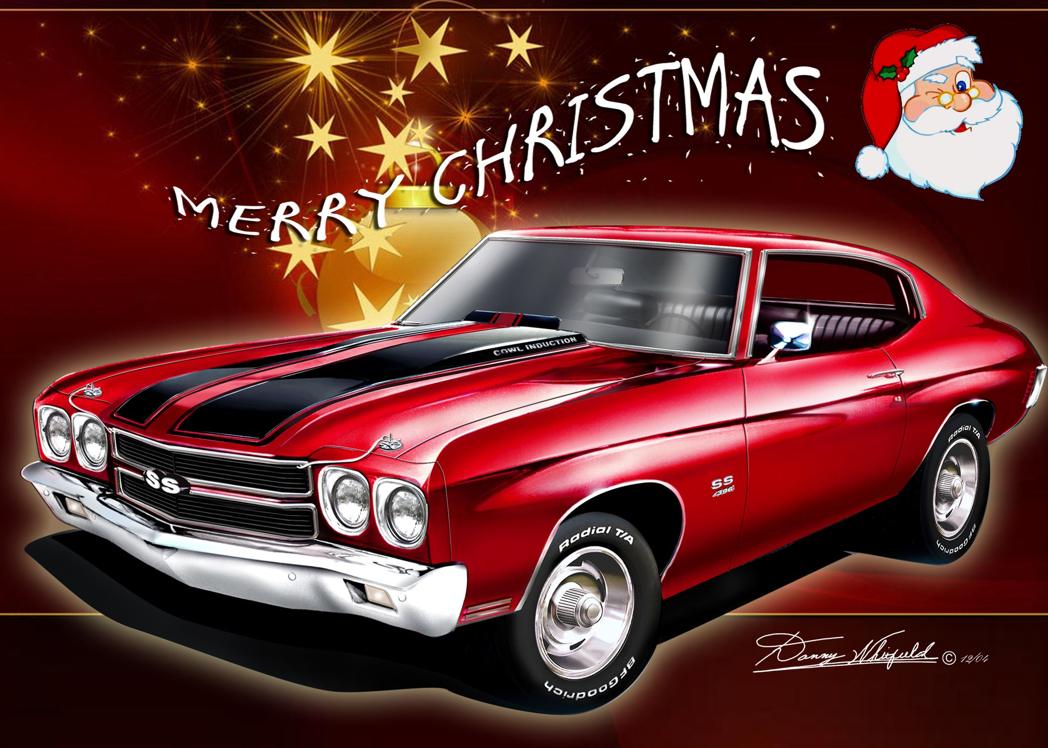 Chevy Chevelle Say S Merry Christmas From The Automotive Art Of