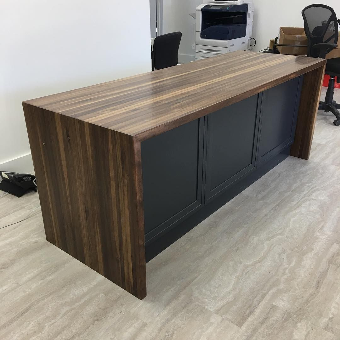 Walnut Edge Grain Waterfall Desk Top At New Select Kitchens Show