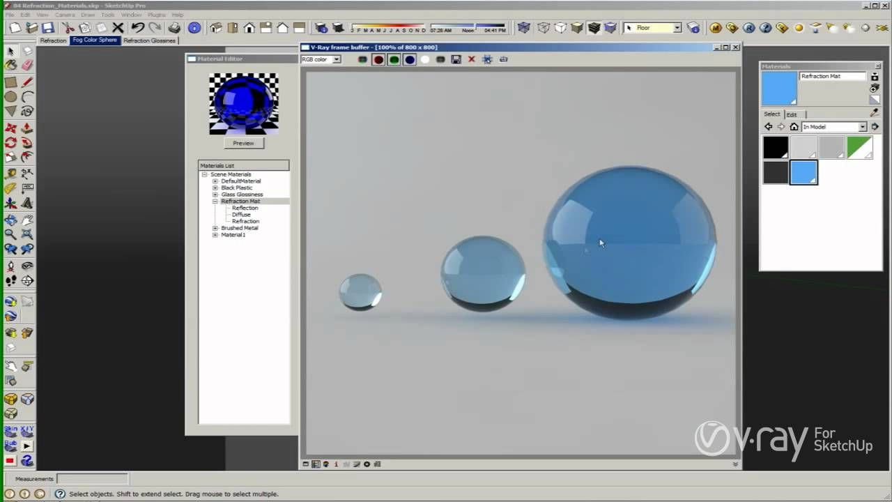 V Ray For Sketchup Materials The Refraction Layer Tutorial