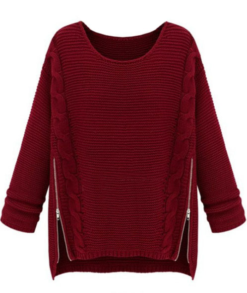 Shop Wine Red Long Sleeve Side Zipper Cable Knit Sweater online ...