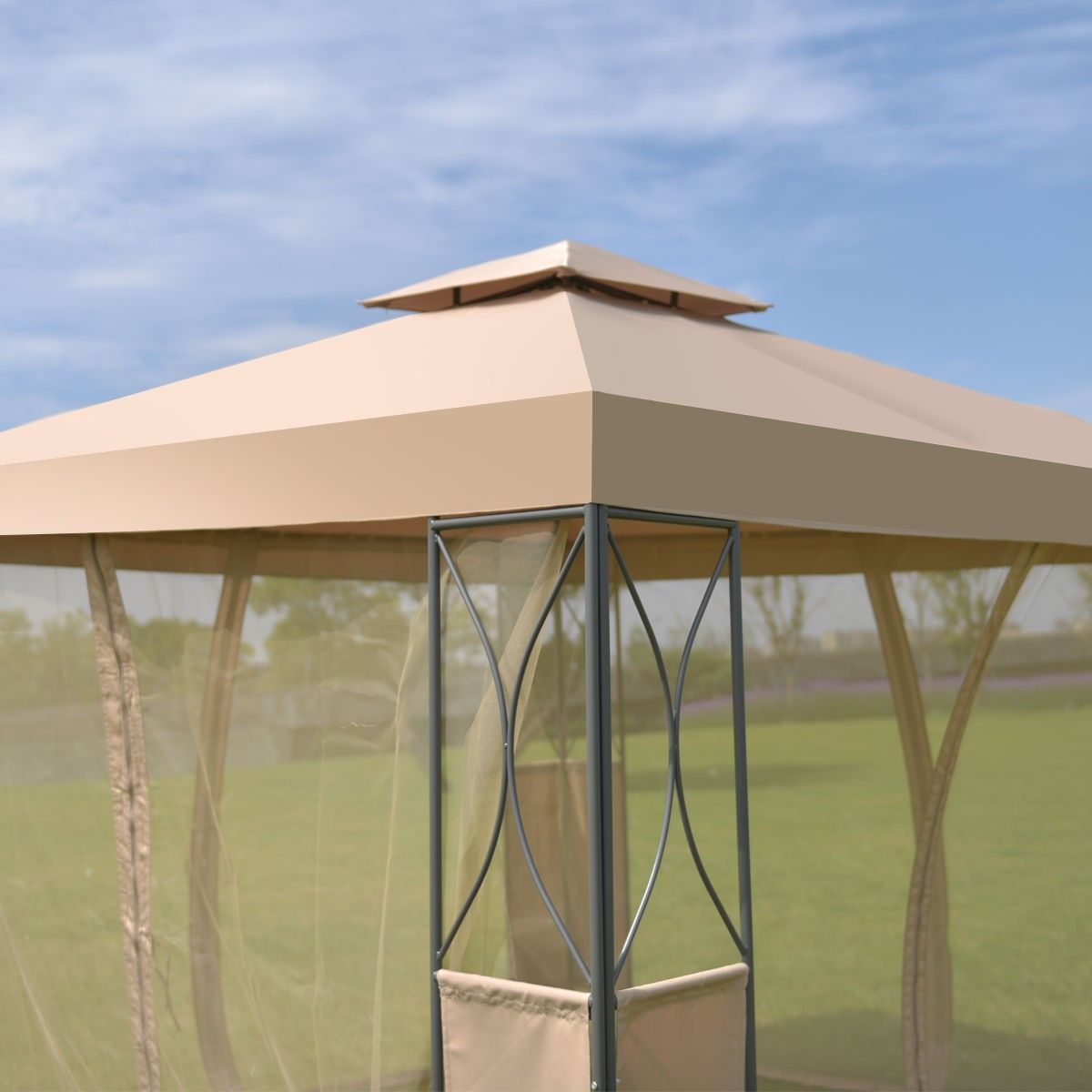 2 Tier 10 X 10 Patio Steel Gazebo Canopy Shelter 144 95 Free Shipping Material Steel And 180g Waterproof P Steel Gazebo Canopy Tent Outdoor Gazebo Canopy