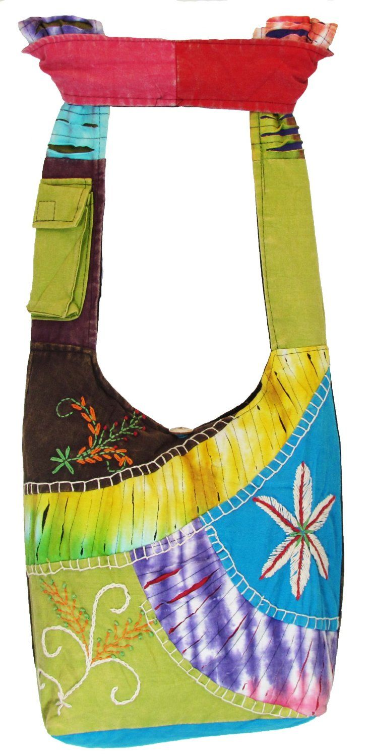Amazon.com  Hobo Bohemian Hippie Ripped Razor Cut Gypsy Embroidery Flower  Print Shoulder Sling Crossbody Cotton Handmade Purse Monk Bag Nepal   Everything ... 288ffb5f755bd