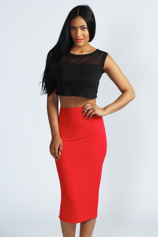 Alexis Basic Jersey Midi Skirt | Tube skirt