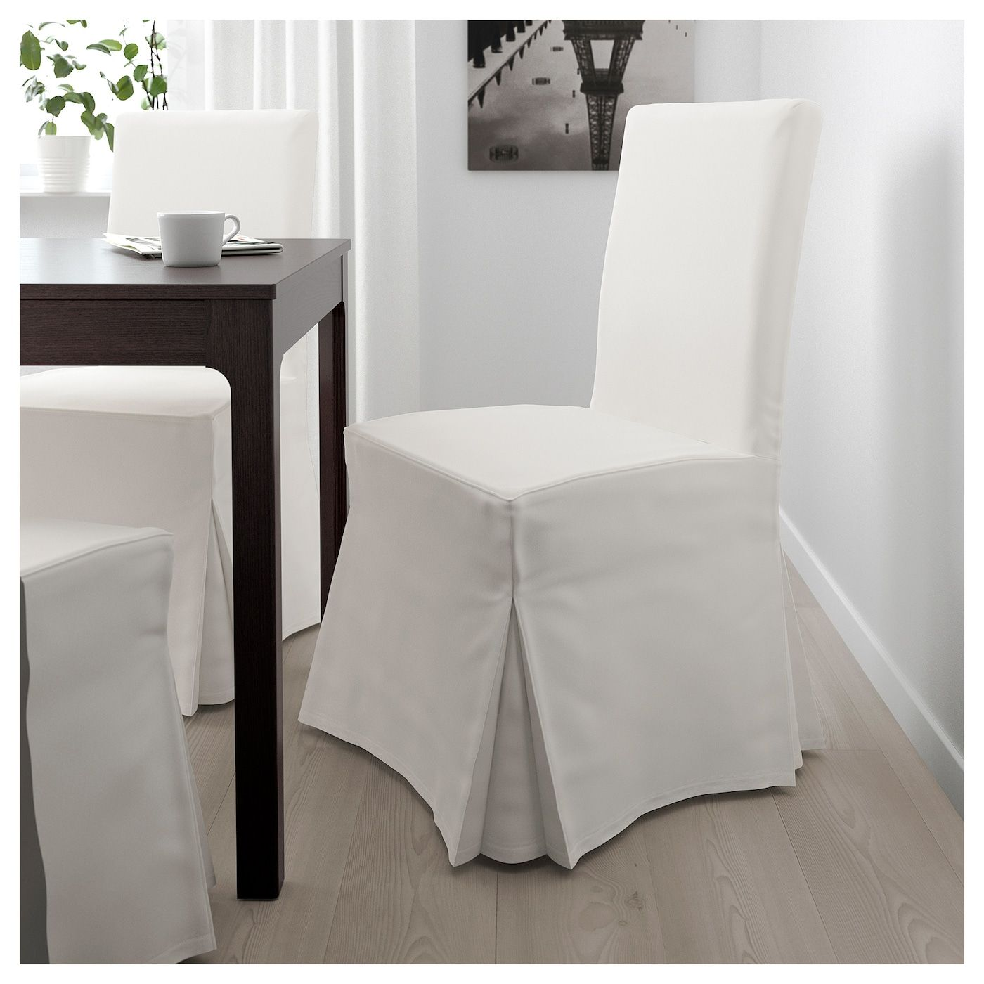 HENRIKSDAL Chair with long cover, Blekinge white. Find it