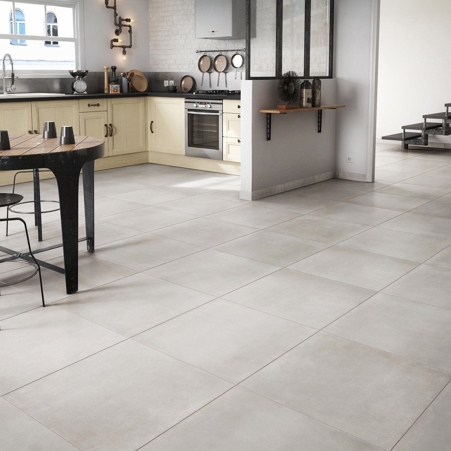 Carrelage sol et mur gris clair aspect b ton l 39 appart for Carrelage sol salon