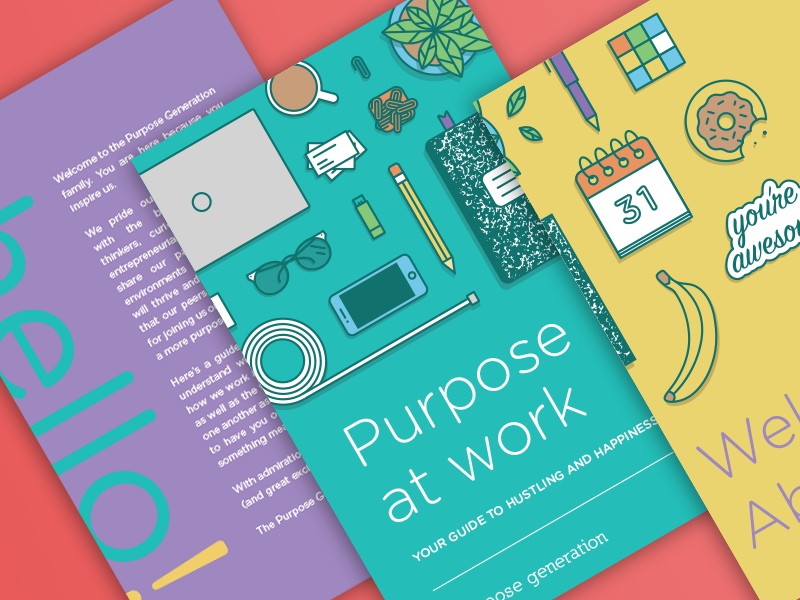 Here Is The Cover And Intro Pages Of Employee Handbook Idea Was To Have Illustrations Spill Onto Back Into First Page Table