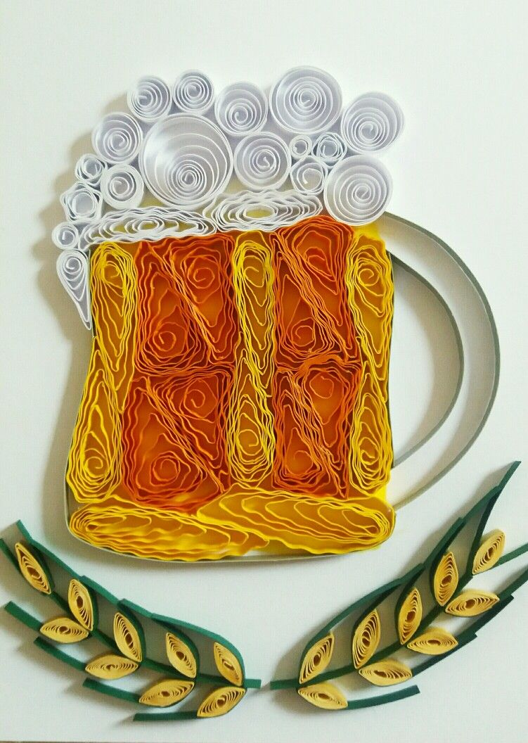 Quilled beer mug card for Father's day 19.10.2016 quilling by Margi Sander