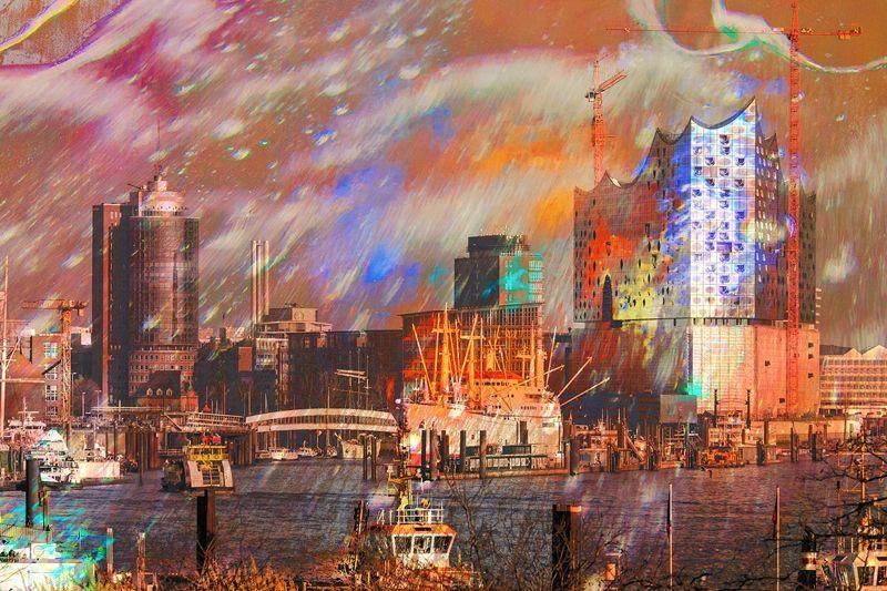 Bunter Hafen - ein Fotogemälde von Hans-Jürgen Kuc als Kunstdruck beim bilderwerk Hamburg: http://www.bilderwerk-hamburg.de/category/hamburg-motive/hamburg-mal-etwas-anders/
