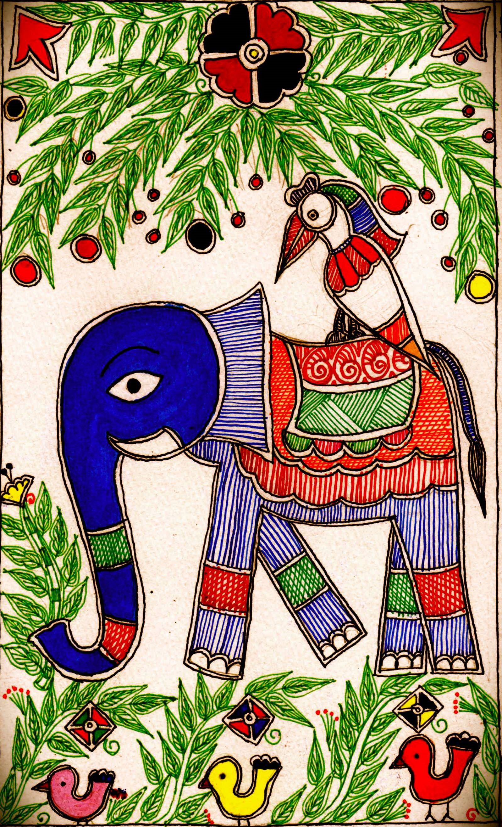 Madhubani elephant and birds - design for my handmade greetingcards..