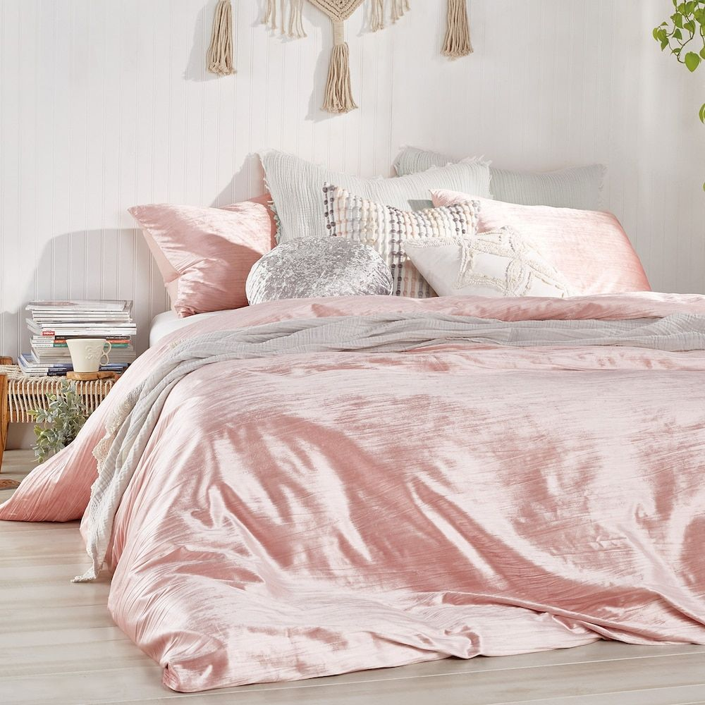 Peri Crinkle Velvet Comforter Set Pink Full Queen Pink