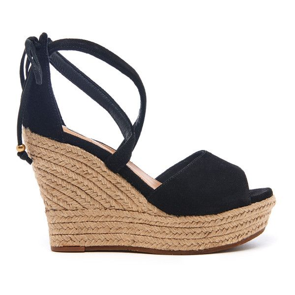 Ugg Women S Reagan Suede Ankle Tie Jute Wedged Sandals