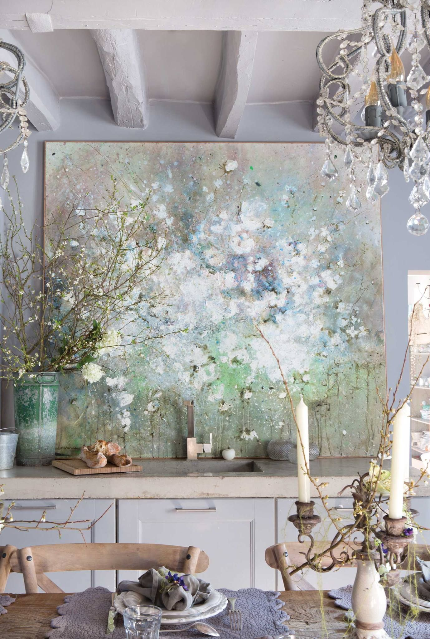 Große impressionistische Malerei auf dem Büffet #Wohnidee ...