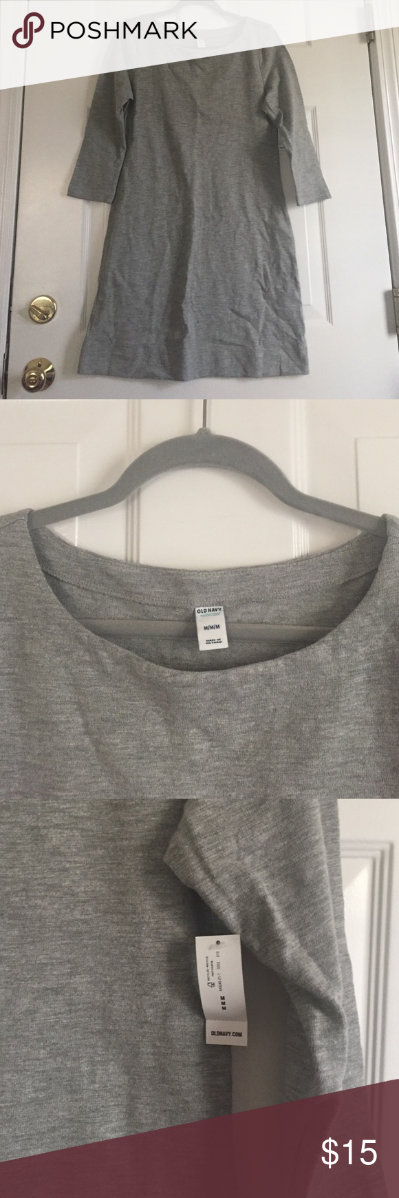 Old navy dress Old navy dress. Brand new with tags. Gray, thicker non stretchy material. 3/4 sleeves. Old Navy Dresses