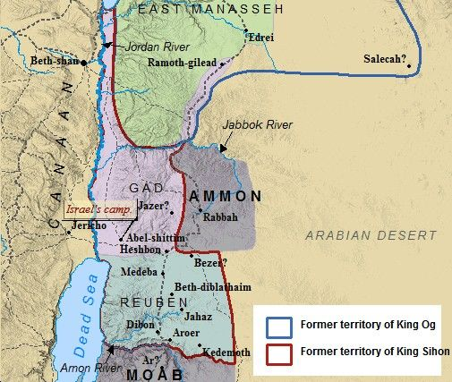 A map of the Transjordan  those tribes of Israel east of the