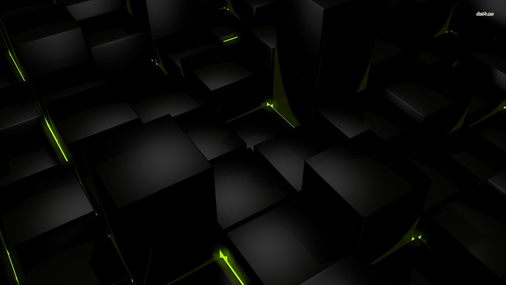 Black abstract wallpaper with green lines HD Abstract