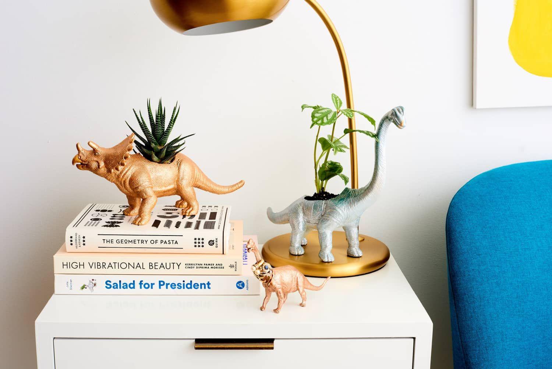 Turns Out Cheap Dinosaur Toys Can Make Shockingly Stylish Decor Upcycled Home Decor Stylish Decor Dinosaur Toys