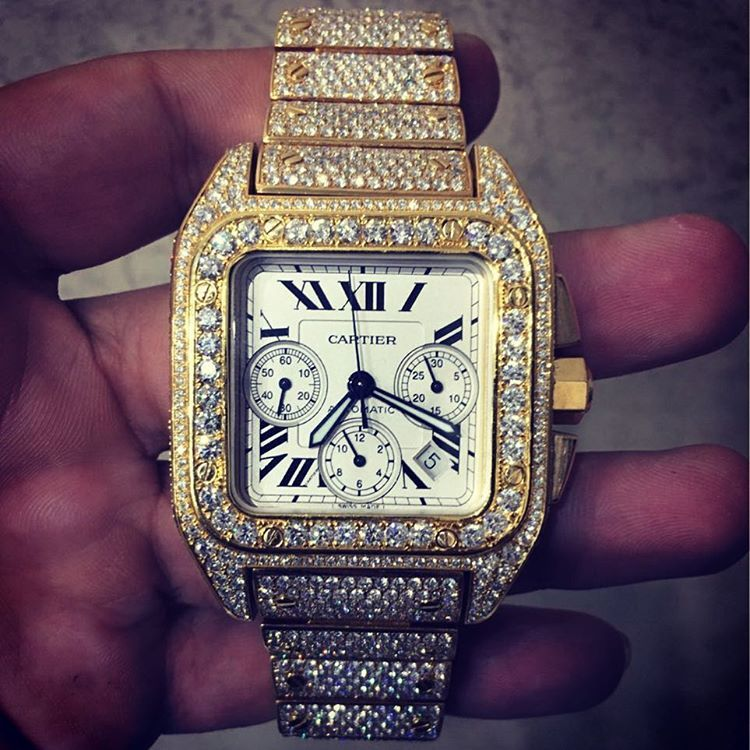 Iced Out Cartier Watch Trendy Watches Watches Accessories