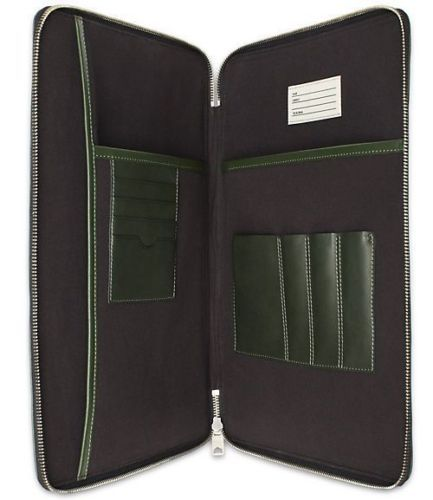 NWT-Jack-Spade-Men-s-Grant-Leather-Wraparound-Zip-Portfolio-in-Rosin-Green
